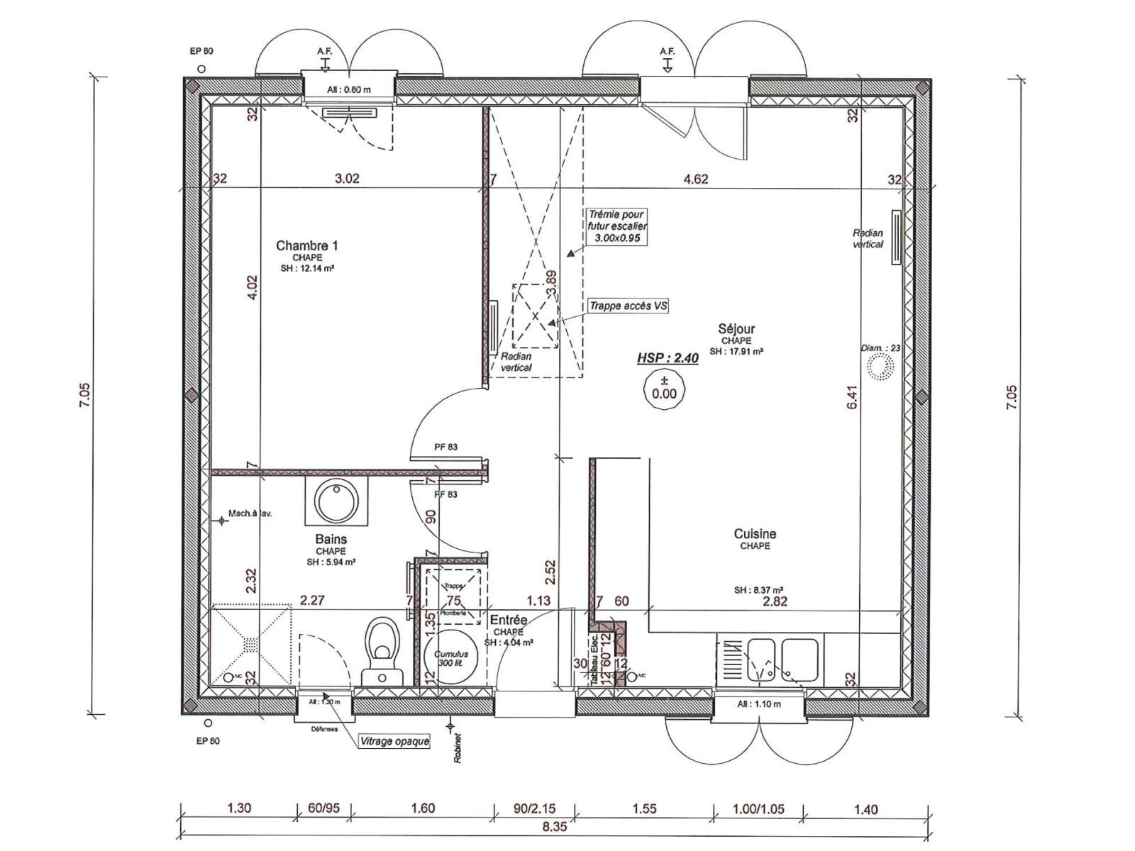 Vente maison contemporaine de plain pied voves - Plan maison 80m2 3 chambres ...